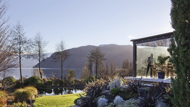 View from outside of Annabel Langbein's Wanaka kitchen dining room