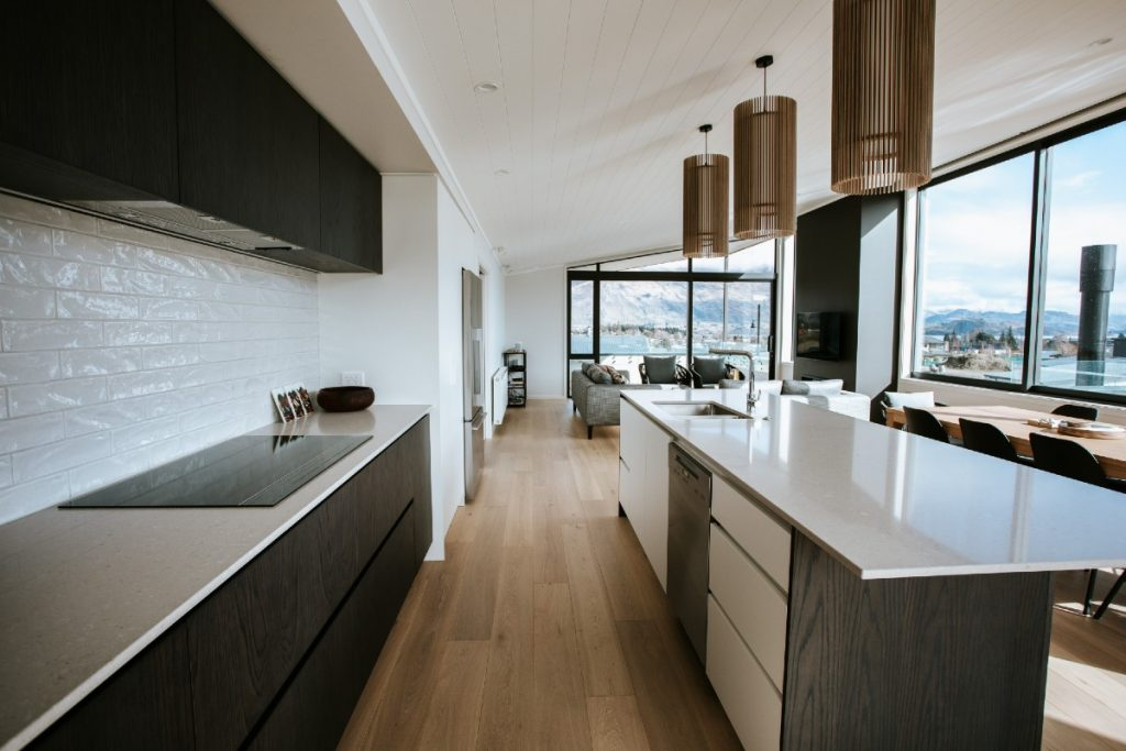 clean lines open plan kitchen dining lounge
